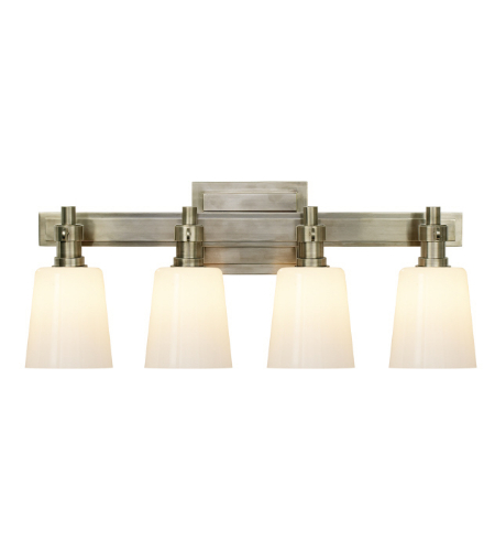 Visual Comfort TOB 2153AN-WG Thomas O'Brien Modern Bryant Four-Light Bath Sconce in Antique Nickel with White Glass