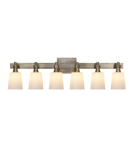Visual Comfort TOB 2154AN-WG Thomas O'Brien Modern Bryant Six-Light Linear Bath Sconce in Antique Nickel with White Glass
