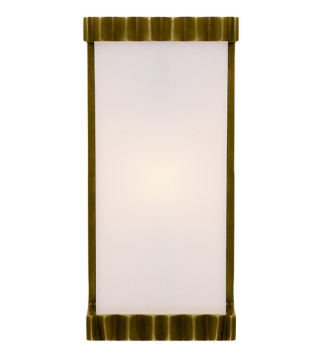Visual Comfort TOB 2252HAB-WG Thomas O'Brien Modern Paulina Zig Zag Bath Sconce in Hand-Rubbed Antique Brass with White Glass