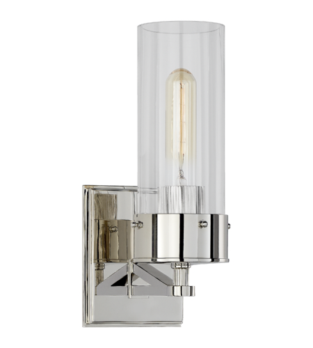 Visual Comfort TOB 2314PN-CG Thomas O'Brien Modern Marais Medium Bath Sconce in Polished Nickel with Clear Glass