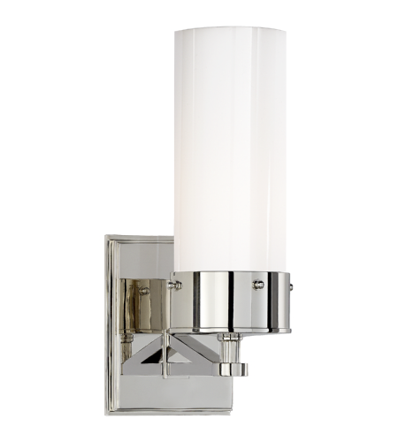 Visual Comfort TOB 2314PN-WG Thomas O'Brien Modern Marais Medium Bath Sconce in Polished Nickel with White Glass