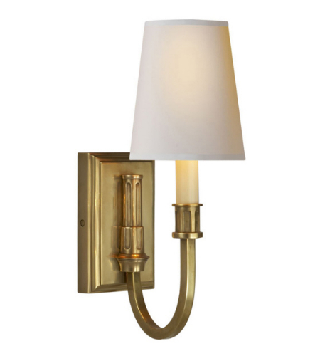 Visual Comfort TOB 2327HAB-NP Thomas O'Brien Modern Modern Library Sconce in Hand-Rubbed Antique Brass