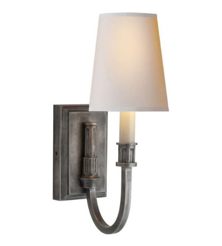 Visual Comfort TOB 2327SN-NP Thomas O'Brien Modern Modern Library Sconce in Sheffield Nickel