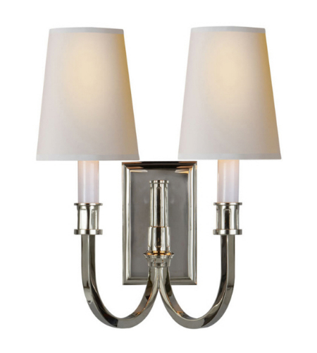 Visual Comfort TOB 2328PN-NP Thomas O'Brien Modern Modern Library Double Sconce in Polished Nickel