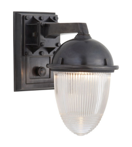 Visual Comfort TOB 2405BZ-CG Thomas O'Brien Casual Garey Wall Light in Bronze with Industrial Prismatic Glass