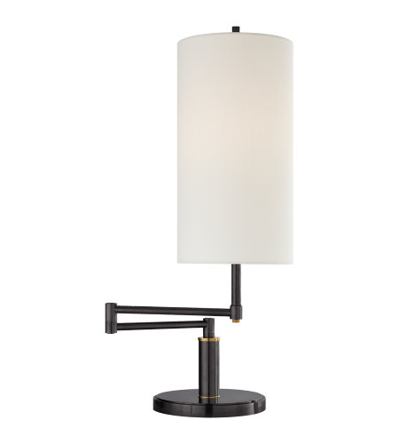 Visual Comfort TOB 3116BZ/HAB L Thomas Ou0027Brien Modern Anton Large Swing Arm  Table Lamp In Bronze And Hand Rubbed Antique Brass With Linen Shade