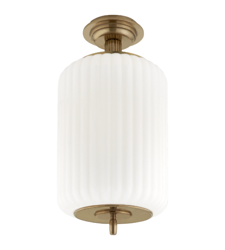 Visual Comfort TOB 4264HAB-WG Thomas O'Brien Traditional Eden Semi-Flush Mount in Hand-Rubbed Antique Brass with White Glass