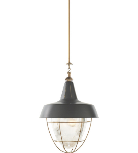 Visual Comfort TOB 5042HAB-G Thomas O'Brien Casual Henry Industrial Hanging Light in Hand-Rubbed Antique Brass with Green Shade