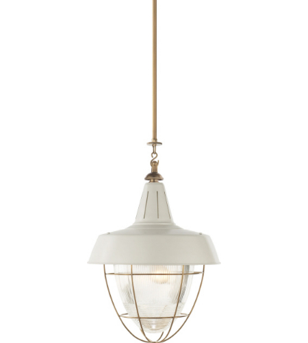 Visual Comfort TOB 5042HAB-WHT Thomas O'Brien Casual Henry Industrial Hanging Light in Hand-Rubbed Antique Brass with White Shade