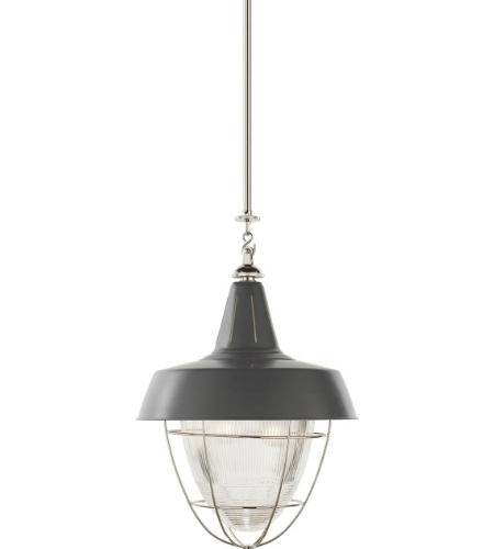 Visual Comfort TOB 5042PN-G Thomas O'Brien Casual Henry Industrial Hanging Light in Polished Nickel and Green Shade with Industrial Prismatic Glass