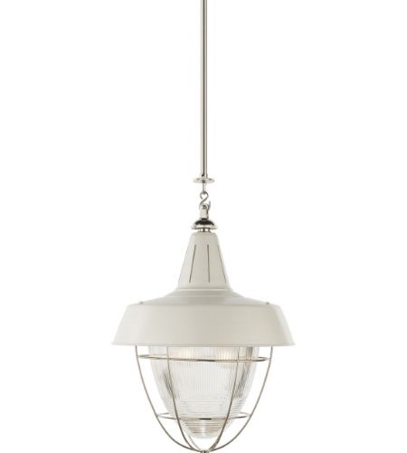 Visual Comfort TOB 5042PN-WHT Thomas O'Brien Casual Henry Industrial Hanging Light in Polished Nickel and White Shade with Industrial Prismatic Glass