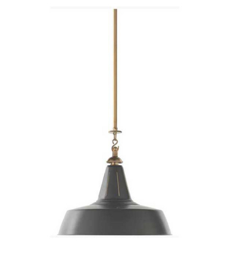 Visual Comfort TOB 5043HAB-G Thomas O'Brien Casual Henry Industrial Hanging Light in Hand-Rubbed Antique Brass with Green Shade