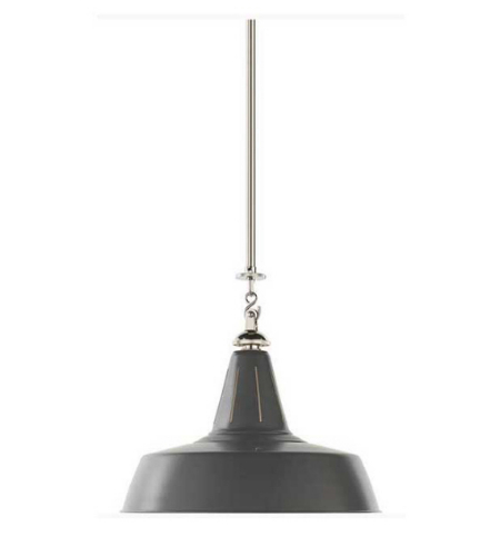 Visual Comfort TOB 5043PN-G Thomas O'Brien Casual Henry Industrial Hanging Light in Polished Nickel and Green Shade with Industrial Prismatic Glass