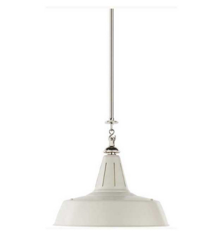 Visual Comfort TOB 5043PN-WHT Thomas O'Brien Casual Henry Industrial Hanging Light in Polished Nickel and White Shade with Industrial Prismatic Glass