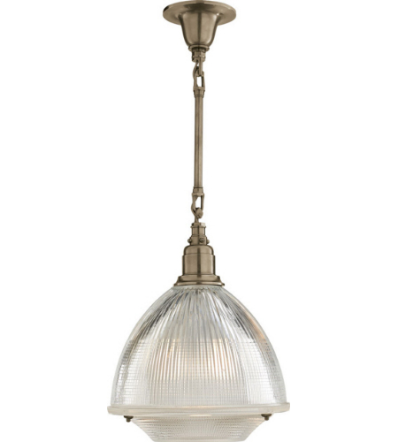 Visual Comfort TOB 5144AN-CG Thomas O'Brien Casual Garey Large Single Light in Antique Nickel with Industrial Prismatic Glass
