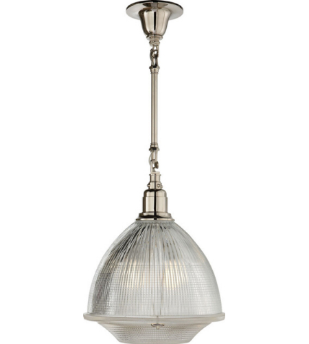 Visual Comfort TOB 5144PN-CG Thomas O'Brien Casual Garey Large Single Light in Polished Nickel with Industrial Prismatic Glass