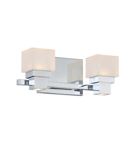dweLED by WAC Lighting WS-44512-CH Kube LED 2 Light Bathroom Vanity & Wall Light 2700K in Chrome