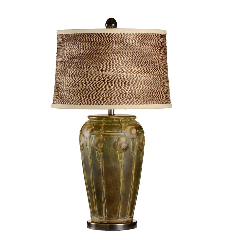 Wildwood Lamps 21709 2 Bronze Mounting Green/Gold Glaze On Ceramic 1 Light  Chetola Lamp