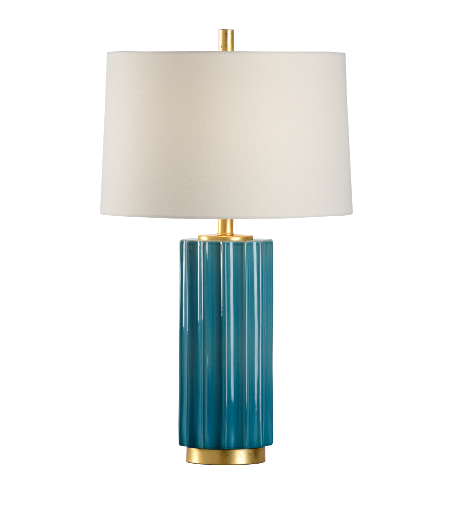 Wildwood Lamps 46997 Teal Crackle Glaze Gold Leaf Ceramic