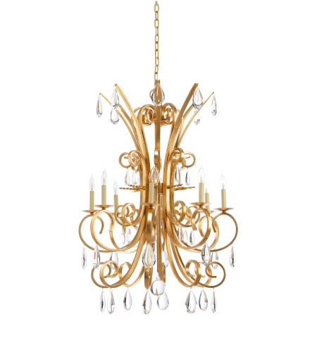 Wildwood Lamps 23347 Antique Gold Leaf/Clear Iron/Crystal 8 Light Grand Stairs Chandelier -Gold