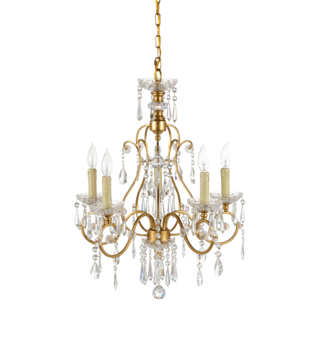 Wildwood Lamps 67021 Wildwood Gold & Crystal Chandelier in Gold Leaf