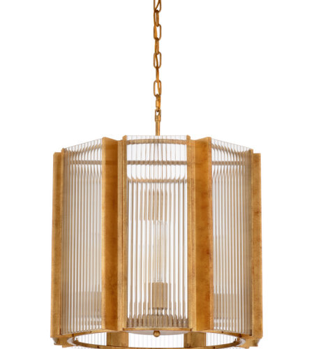 Wildwood Lamps 67202 Wildwood Theo Chandelier - Gold in Antique Gold Leaf,Clear Fluted