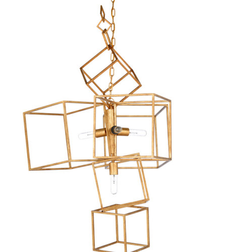 Wildwood Lamps 67226 Wildwood Cubist Chandelier - Gold in Antique Gold Leaf