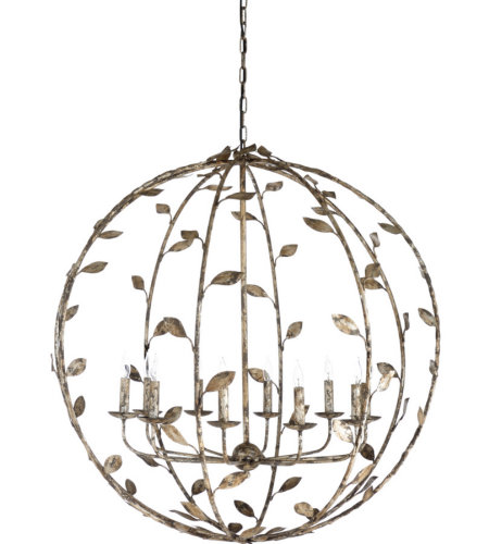 Wildwood Lamps 67246 Wildwood Charlotte Chandelier in Rustic Silver Leaf