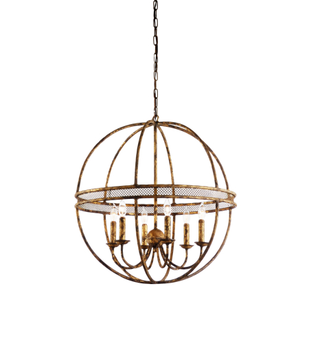 Wildwood Lamps 68363 Chelsea House Old Old Gold Finish 6 Lites-Hand Formed Iron 27.5