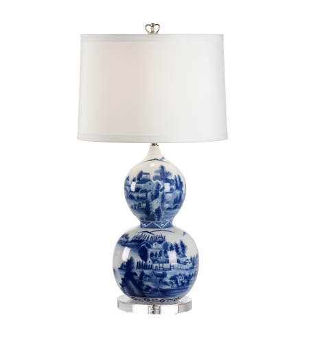 Wildwood Lamps 68695 Chelsea House Scenic Blue Vase Lamp In