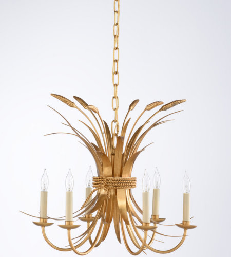 Wildwood Lamps 69412 Chelsea House Wheat Chandelier - Gold in Antique Gold Leaf