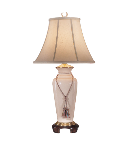 Wildwood Lamps 8623 White Glaze/Mahogany Porcelain/Composite 1 Light Buff Crackle Lamp